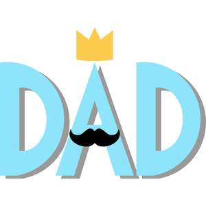 dad crown and mustache