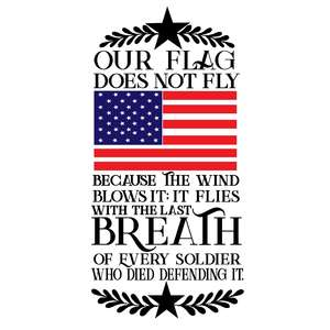 our flag does not fly because of the wind