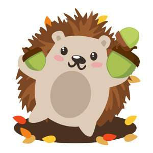 hedgehog with acorns