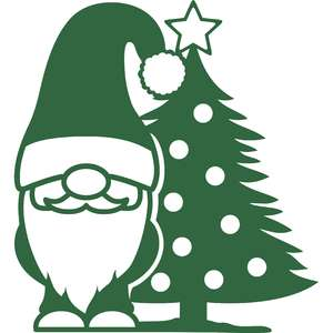 gnome and christmas tree