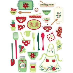 holiday cookbook stickers dishes