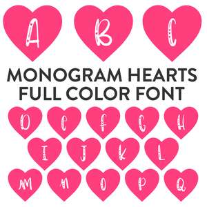 hearts full color monogram font