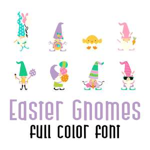 easter gnomes full color font