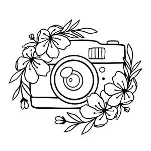 camera with flowers