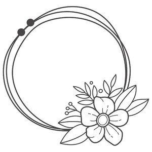 boho floral messy circle frame