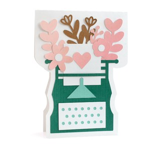 flowers typewriter card