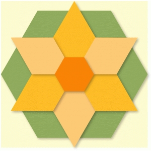hexagon flower quilt block