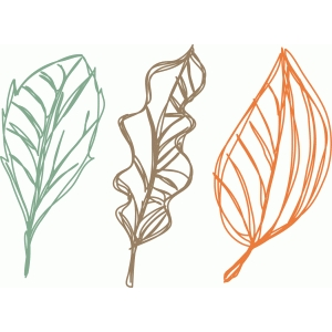 fall leaves sketch set
