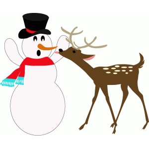 snowman with hungry deer