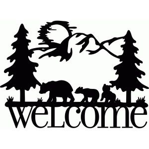 welcome sign bear family