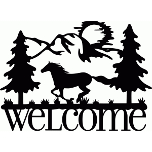 welcome sign horse run