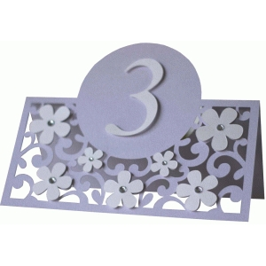 flowers and floirishes table number card