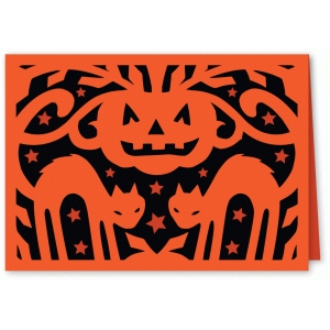 starry night black cat halloween card