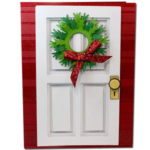 coffered christmas wreath door card