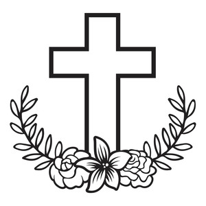 floral laurel cross