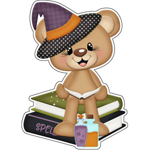 halloween bear witch with books and potions sticker / diecut