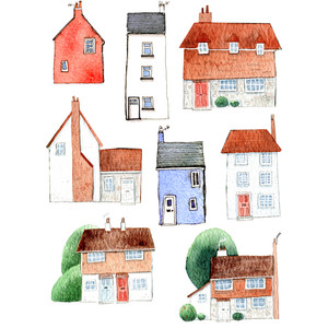 watercolor house stickers