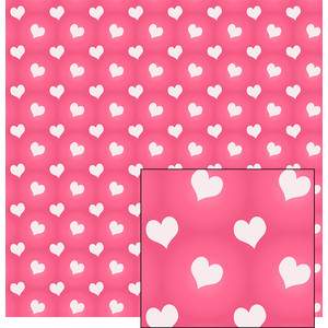 white hearts on pink pattern