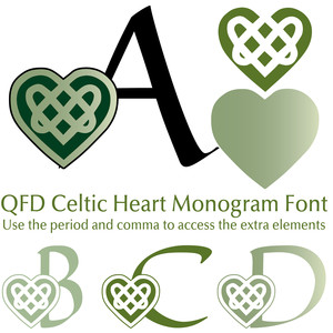 qfd celtic heart monogram font
