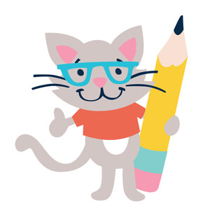 kitty with pencil back to school