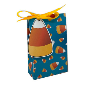 candy corn-themed treat bag with tag