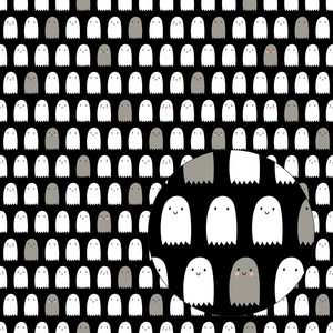 halloween ghosts seamless pattern