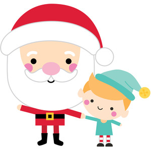 santa with elf - christmas magic