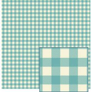turquoise and cream woven plaid-look pattern