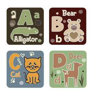 animal alphabet cards a to d