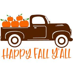 happy fall y'all pumpkin old truck