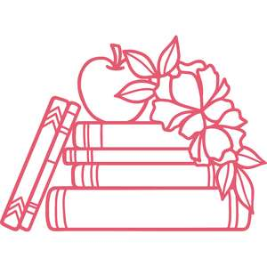 school books with flowers