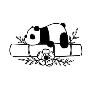 cute panda with bamboo flower