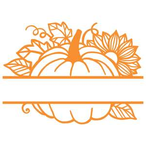 split pumpkin and sunflower nameplate