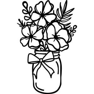 flower bouquet in mason jar