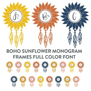 boho sunflower monogram frames full color font