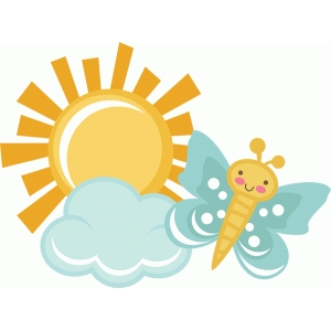 butterfly with sun and cloud