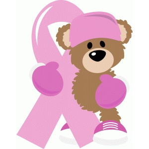 fight breast cancer bear with ribbon