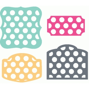 set of 4 polka dot labels