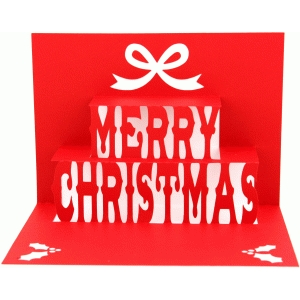 5x7 merry christmas pop up card