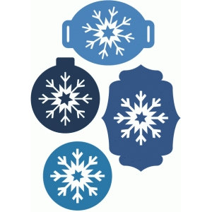 4 layered snowflake tags