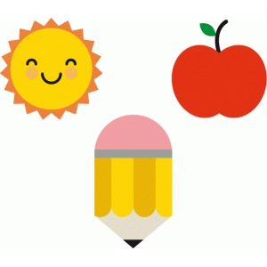 sun, apple, and pencil shapes