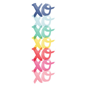 xoxo watercolor border