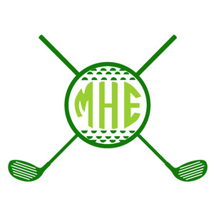 golf clubs and ball monogram