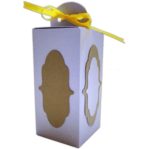 tall gift box with label