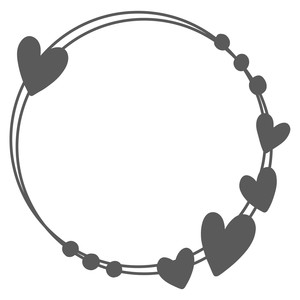 heart monogram frame bead circle