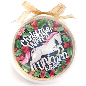 unicorn kisses christmas ornament