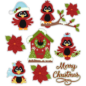 christmas cardinals sticker / diecut set
