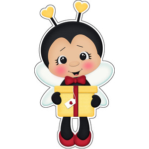 bee mine valentines boy with present sticker /  die cut