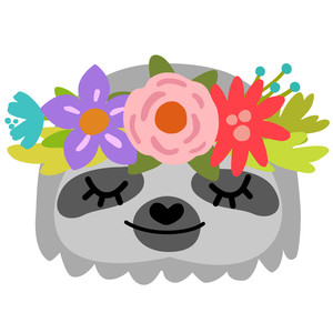 sloth face with flower crown