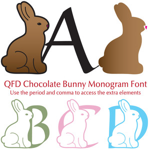 qfd chocolate bunny monogram font